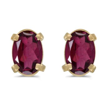 14k Yellow Gold Oval Rhodolite Garnet Earrings
