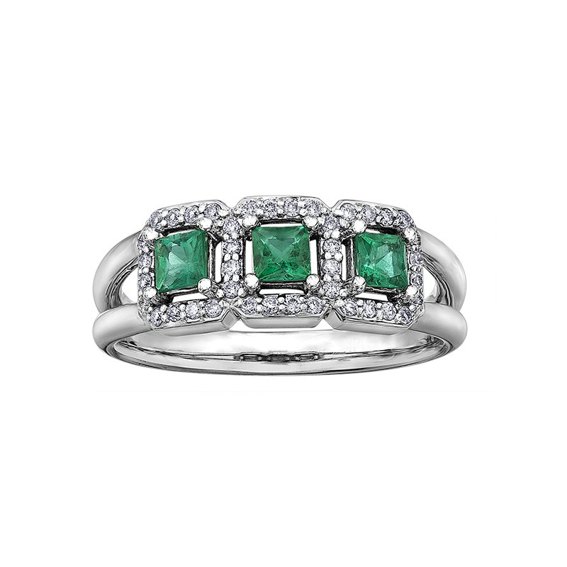 Diamond Wishes Emerald Ladies Ring
