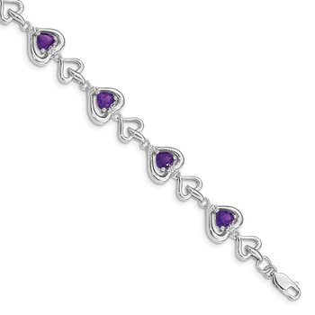 Sterling Silver Rhodium-plated Diamond & Heart Link Amethyst Bracelet