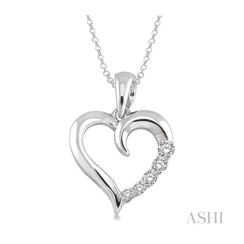 Gemstone Collection silver journey heart shape diamond pendant