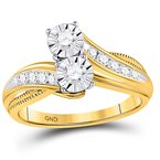 Gold-N-Diamonds, Inc. (Atlanta) 14kt Yellow Gold Womens Round Diamond 2-stone Bridal Wedding Engagement Ring 1/2 Cttw