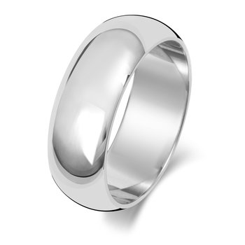 9Ct White Gold 7mm D Shape Wedding Ring