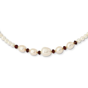 14K White Freshwater Cultured Pearl Faceted 4.0 Garnet Bead Necklace