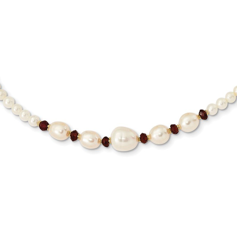 Quality Gold 14K White Freshwater Cultured Pearl Faceted 4.0 Garnet Bead Necklace