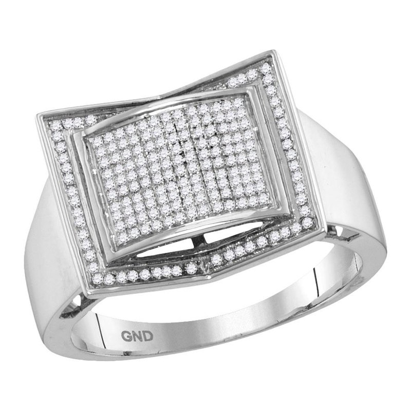 Gold-N-Diamonds 10kt White Gold Mens Round Diamond Square Domed Cluster Ring 1/3 Cttw