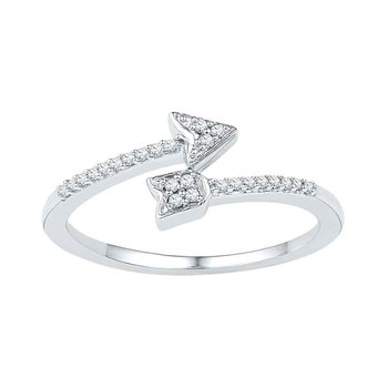 10kt White Gold Womens Round Diamond Bisected Arrow Band Ring 1/12 Cttw