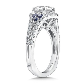Diamond and Blue Sapphire Engagement Ring Mounting in 14k White Gold with Platinum Head (.42 ct. tw.)