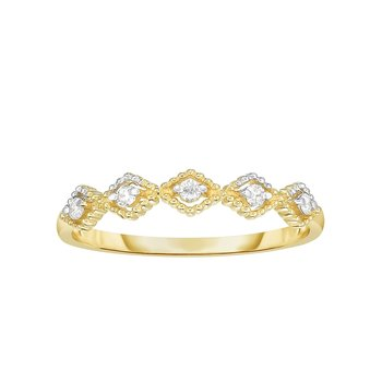 14K Gold .08ct Diamond Kite Shape Stackable Ring