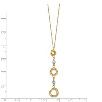 14k Two-tone Graduated Love Knots w/D/C Beads Y-Necklace