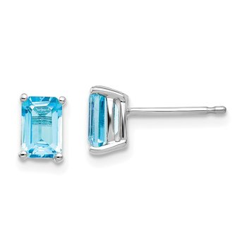 14k White Gold 6x4mm Emerald Cut Blue Topaz Earrings