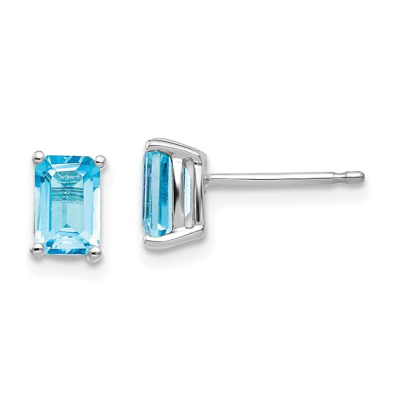 Quality Gold 14k White Gold 6x4mm Emerald Cut Blue Topaz Earrings