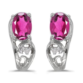 10k White Gold Oval Pink Topaz And Diamond Earrings