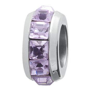 316L stainless steel and light amethyst Swarovski® Elements crystals