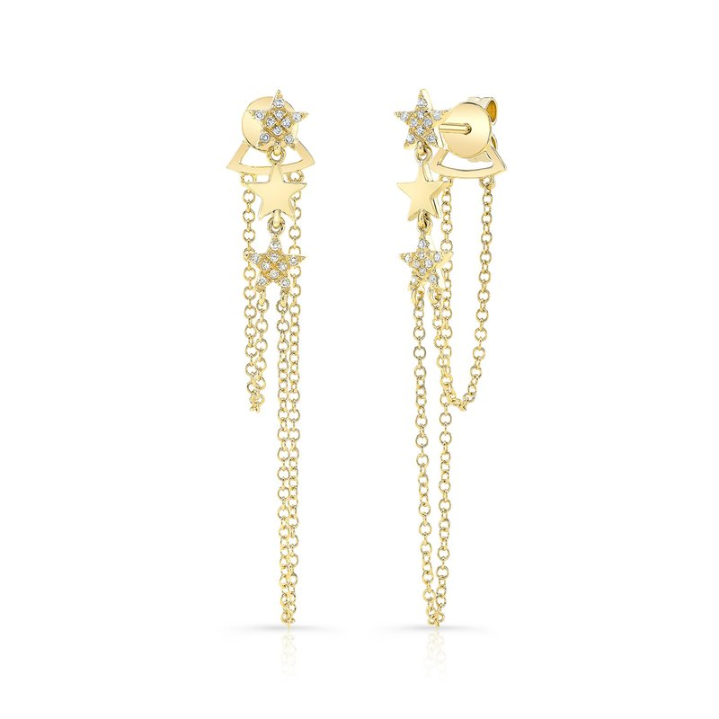 Robert Palma Designs Yellow Gold Dangling Star Earrings