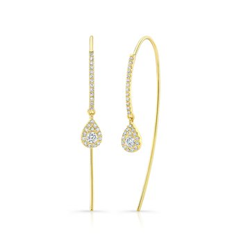 Yellow Gold Pear Shape Ear Threaders