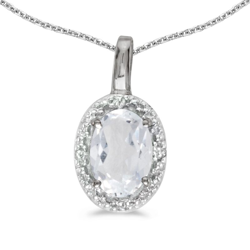 Color Merchants 10k White Gold Oval White Topaz And Diamond Pendant