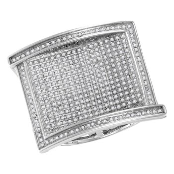 10kt White Gold Mens Round Pave-set Diamond Rectangle Cluster Ring 1.00 Cttw