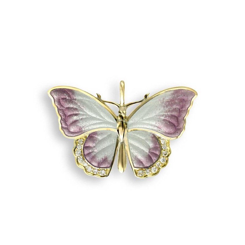 Nicole Barr Designs White Butterfly Pendant.18K -Diamond