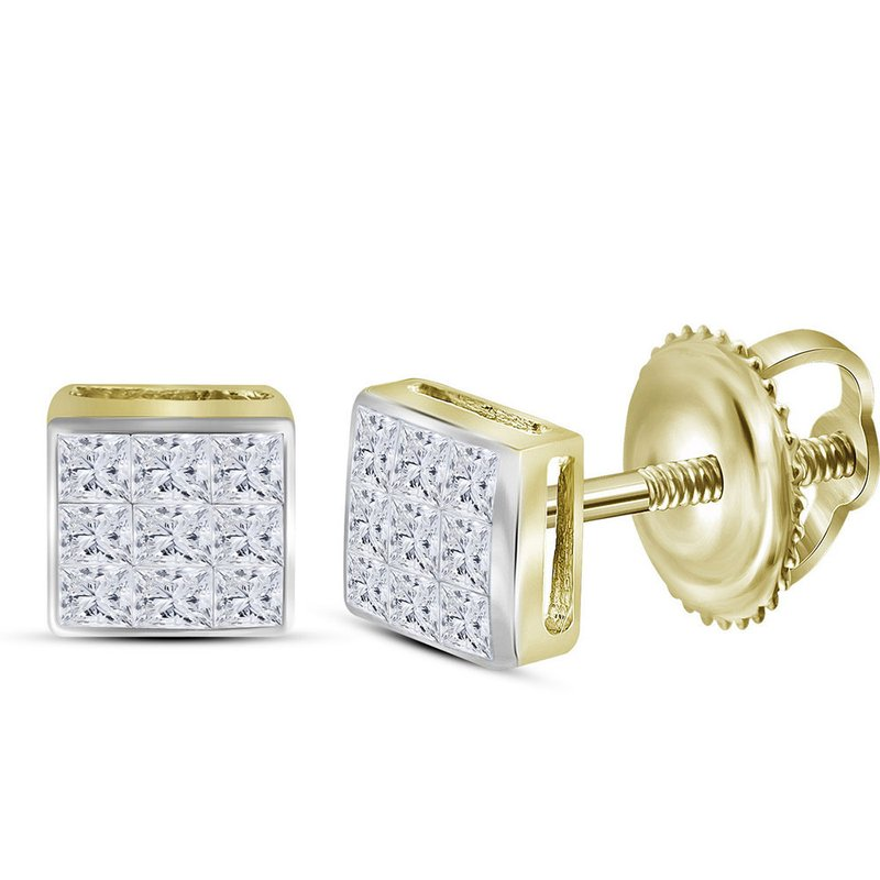 Kingdom Treasures 14kt Yellow Gold Womens Princess Diamond Square Cluster Stud Earrings 1/4 Cttw