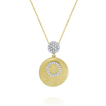 14K Gold and Diamond Brushed Disc Necklace