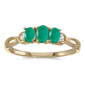 10k Yellow Gold Oval Emerald And Diamond Three Stone Ring