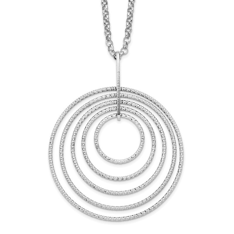 Quality Gold Sterling Silver Rhodium-plated D/C Multi-Circles w/2in ext Necklace