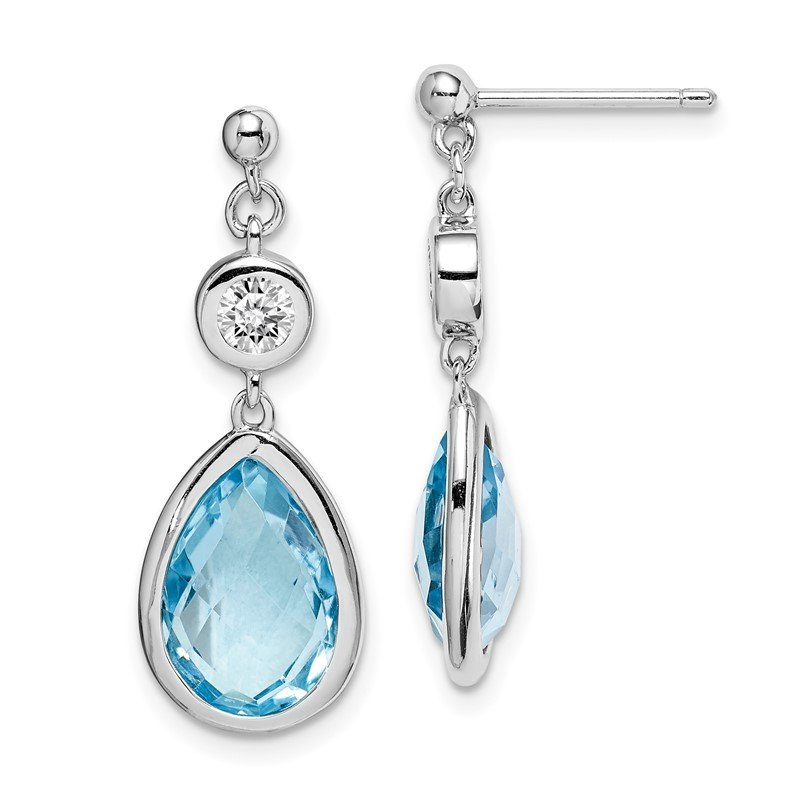 Quality Gold Sterling Silver Rhodium-plated White & Blue Topaz Post Dangle Earrings