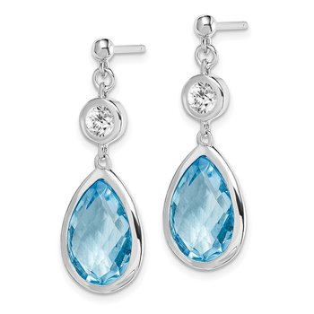 Sterling Silver Rhodium-plated White & Blue Topaz Post Dangle Earrings