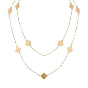 14K-Y SQ. GOLD-BY-THE-YARD NECK., 0.20CT