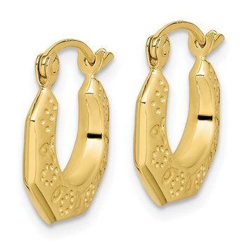 10k Polished Hollow Classic Earrings
