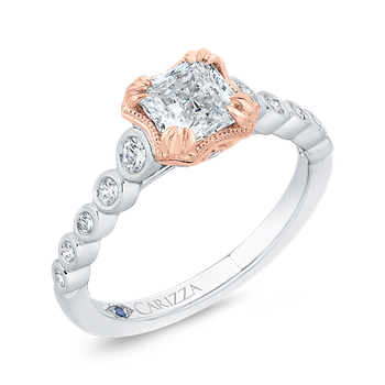 18K Two-Tone Gold Bezel Set Diamond Engagement Ring with Round Shank (Semi-Mount)