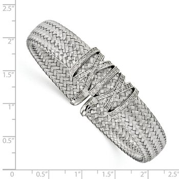 Leslie's Sterling Silver CZ Woven Cuff