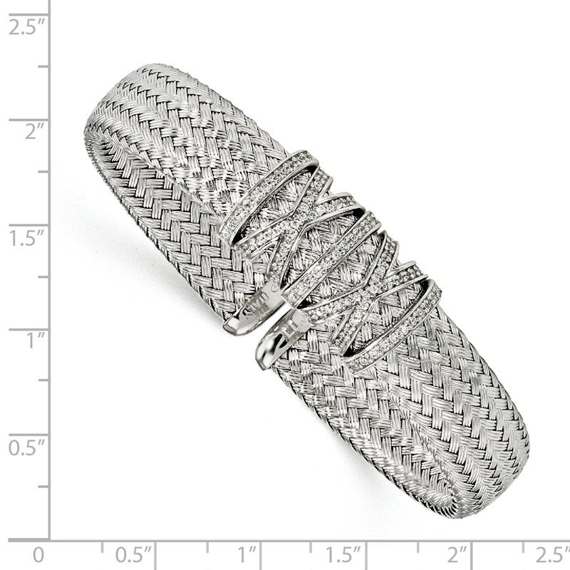 Leslie's Leslie's Sterling Silver CZ Woven Cuff