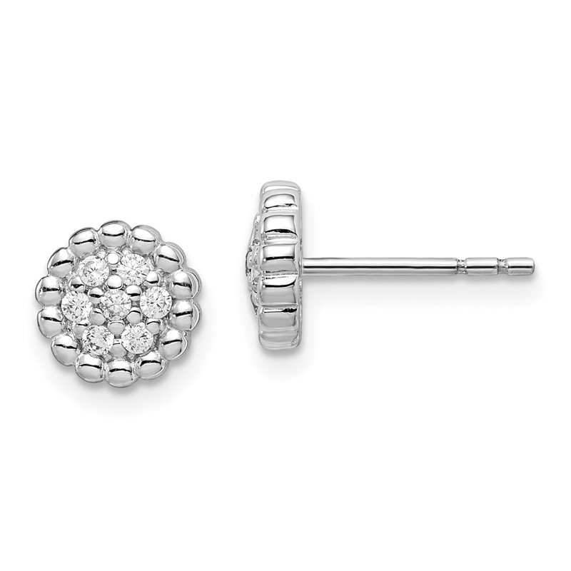 Quality Gold Sterling Silver Rhodium Plated CZ Post Earrings