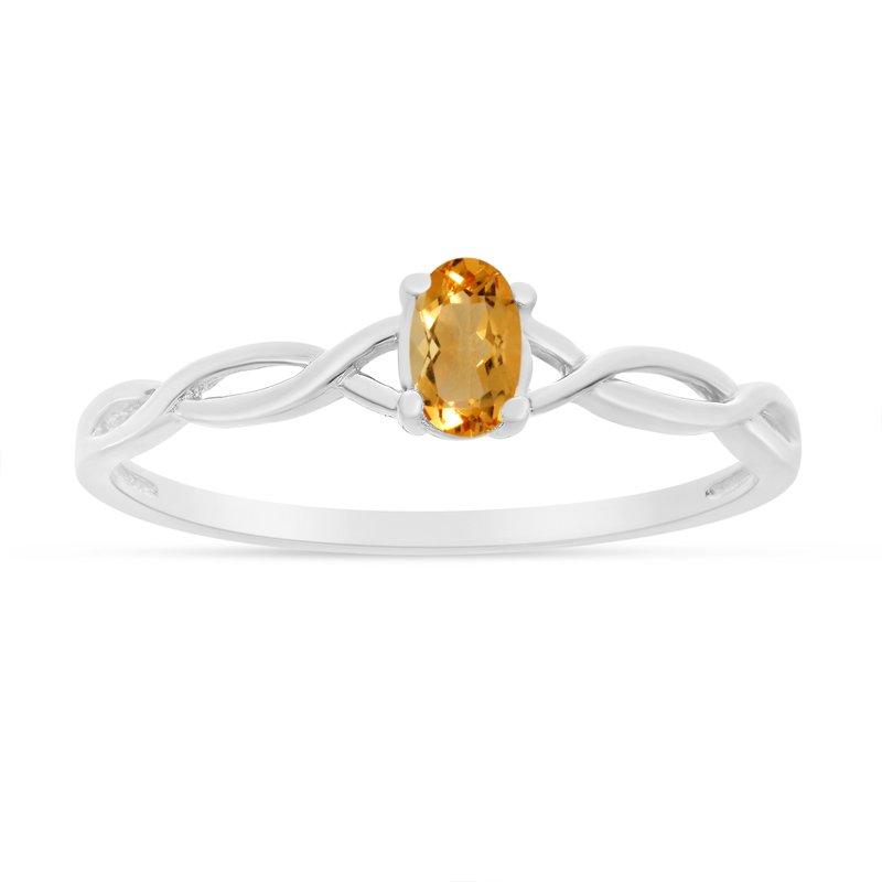 Color Merchants 10k White Gold Oval Citrine Ring