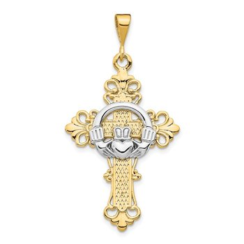 14k Two-tone Claddagh Cross Pendant