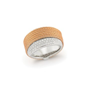 Rose Cable Peekaboo Ring with 18kt White Gold & Diamonds