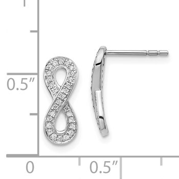 14k White Gold Diamond Infinity Earrings