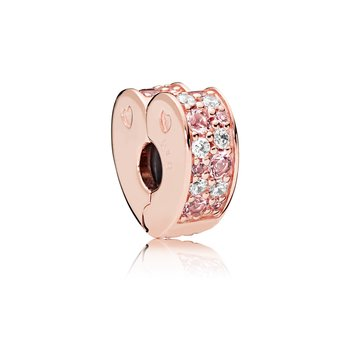 Arcs Of Love Clip, Pandora Rose™, Light Pink Rose Pink Crystals Clear Cz