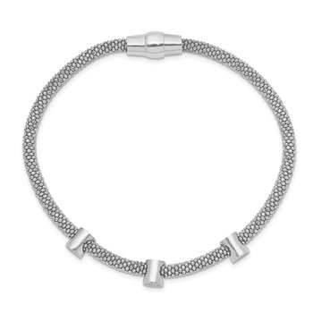 Sterling Silver Polished Rhodium-plated CZ Magnetic Mesh Bracelet