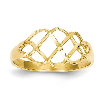 14k Polished & Diamond-Cut Fancy Ring