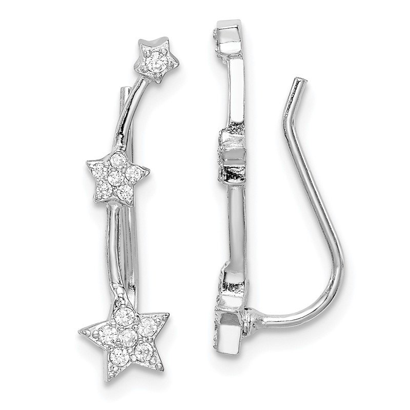Quality Gold Sterling Silver Rhodium-plated CZ Star Ear Climber Earrings