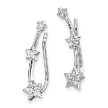 Sterling Silver Rhodium-plated CZ Star Ear Climber Earrings