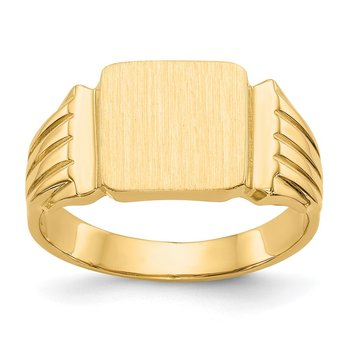 14k 10.5x10.0mm Open Back Mens Signet Ring