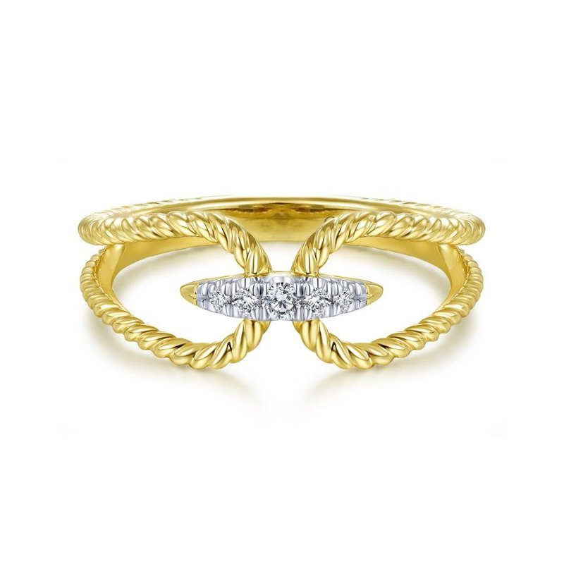 Gabriel Fashion 14K Yellow Gold Twisted Split Shank pavé Diamond Ring