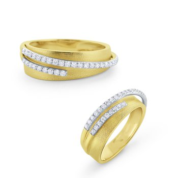 Raised Diamond & Brushed 14 Kt. Gold Band