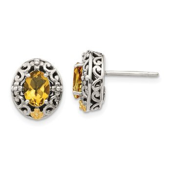 Sterling Silver w/ 14K Accent Citrine Post Earrings
