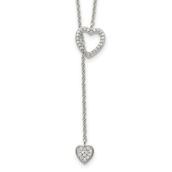 Sterling Silver Polished Adjustable Hearts with CZ Necklace