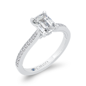 14K White Gold Emerald Cut Diamond Engagement Ring (Semi-Mount)