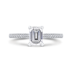 Carizza 14K White Gold Emerald Cut Diamond Engagement Ring (Semi-Mount)